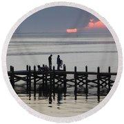 Navarre Beach Sunset Pier 25 Round Beach Towel