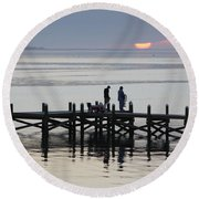Navarre Beach Sunset Pier 26 Round Beach Towel