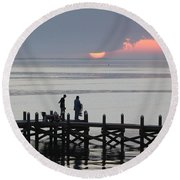 Navarre Beach Sunset Pier 27 Round Beach Towel