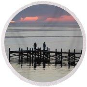 Navarre Beach Sunset Pier 28 Round Beach Towel