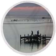 Navarre Beach Sunset Pier 30 Round Beach Towel