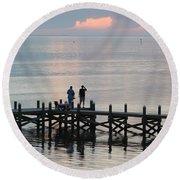 Navarre Beach Sunset Pier 35 Round Beach Towel