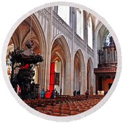 Nave Of The Church Of Our Lady Round Beach Towel