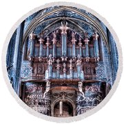 Nave Organ And Paintings Of Saint Cecile Round Beach Towel