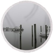 Navigating In The Fog Round Beach Towel