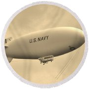 Navy Blimp Round Beach Towel