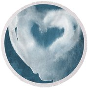 Navy Blue And White Love Round Beach Towel
