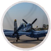Navy Corsair Round Beach Towel