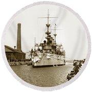 Navy Cruiser Uss New York Going Into Dry Dock San Francisco Circa 1903 Round Beach Towel