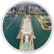 Navy Pier Chicago Aerial Round Beach Towel by Adam Romanowicz