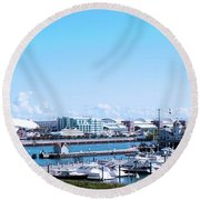 Navy Pier Chicago Il Looking Northeast Round Beach Towel