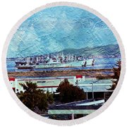 Navy Ships As A Painting Round Beach Towel