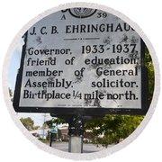 Nc-a39 J.c.b. Ehringhaus Round Beach Towel