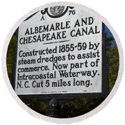 Nc-a76 Albemarle And Chesapeake Canal Round Beach Towel