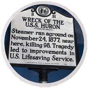 Nc-b31 Wreck Of The U.s.s. Huron Round Beach Towel