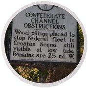 Nc-bbb3 Confederate Channel Obstructions Round Beach Towel