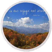 Nc Mountains With Scripture Round Beach Towel