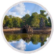 Neak Poan Temple Round Beach Towel