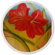 Red Lily Round Beach Towel