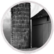 Near Infrared Old Michigan Barn With Silos Bw Usa Round Beach Towel