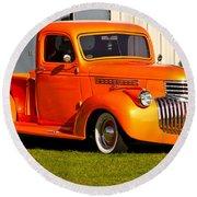 Neat Vintage Chevrolet Truck In Bright Orange Round Beach Towel