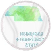 Nebraska - Cornhusker State - Map - State Phrase - Geology Round Beach Towel