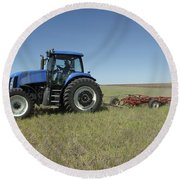 Nebraska Farming Round Beach Towel