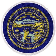 Nebraska Flag Round Beach Towel by World Art Prints And Designs