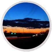 Nebraska Highway Sunset Round Beach Towel