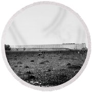 Nebraska Railroad Trestle Round Beach Towel