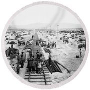 Nebraska Railroad Work Round Beach Towel