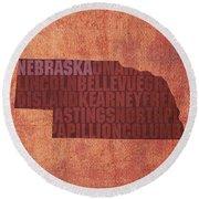 Nebraska Word Art State Map On Canvas Round Beach Towel by Design Turnpike