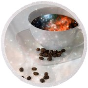 Nectar From Heaven - Coffee Art By Sharon Cummings Round Beach Towel