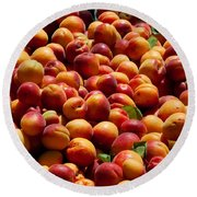 Nectarines For Sale At Weekly Market Round Beach Towel