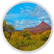 Needle-topped Butte From Highway 211 Going Into Needles District Of Canyonlands National Park-utah  Round Beach Towel
