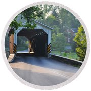 Neff's Mill Covered Bridge Lancaster County Round Beach Towel