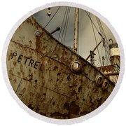 Neglected Whaling Boat Round Beach Towel by Amanda Stadther