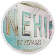 Nehi Ice Cold Beverages Sign Round Beach Towel