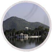 Nehru Garden In The Fateh Sagar Lake In Udaipur Round Beach Towel