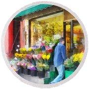 Neighborhood Flower Shop Round Beach Towel