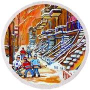 Neighborhood Street Hockey Game Last Call Time For Dinner  Montreal Winter Scene Art Carole Spandau Round Beach Towel