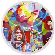 Neil Young-crazy Horse Round Beach Towel