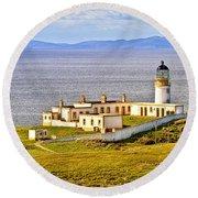 Neist Point Lighthouse Isle Of Skye Round Beach Towel