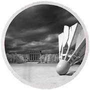 Nelson Akins Art Museum In Infrared Round Beach Towel