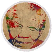 Nelson Mandela Watercolor Portrait On Worn Distressed Canvas Round Beach Towel by Design Turnpike