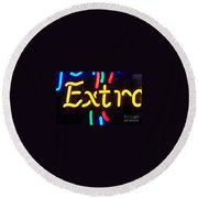 Neon Beer Sign - Extra Round Beach Towel