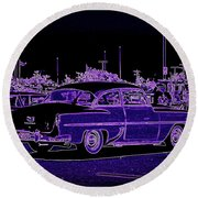 Neon Chevy Blues Round Beach Towel