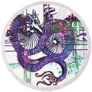 Neon Dragon In High Contrast Round Beach Towel