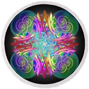 Neon Dreams Round Beach Towel