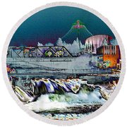 Neon Lights Of Spokane Falls Round Beach Towel